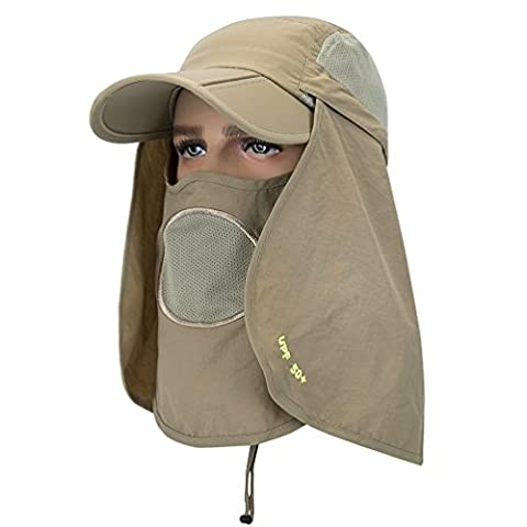 GADIEMENSS Folding Fishing Hat and Mask Quick Dry Sun Hat Neck Protector Cap Face Cap Baseball Protection UPF 50+ UV Protection Mask Removable for Women Men Cap Hat Khaki