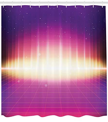 vorhang, 80er Retro Sci-Fi Hintergrund, mit 12 Ringe Set Wasserdicht Stielvoll Modern Farbfest und Schimmel Resistent, 175x200 cm, Mehrfarbig ()