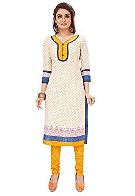 Ishin Cotton White & Yellow Printed Unstitched Salwar Suit Dress Material (Anarkali/Patiyala) With Cotton Dupatta