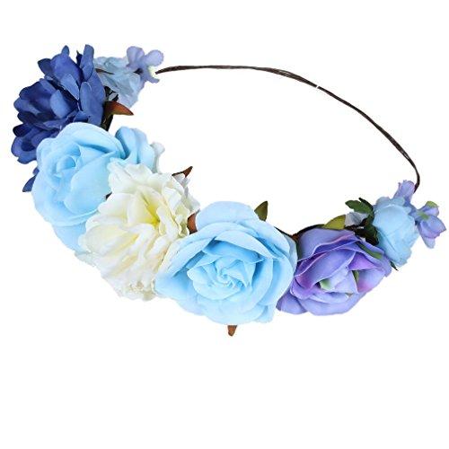 YAZILIND boda de flores de novia corona de Dama de honor ratán floral guirnalda de playa tocado Foto accesorios para el viaje (azul)