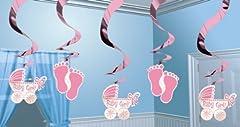 Idea Regalo - Amscan 679656 5 Decorazioni Pendenti a Spirale per Nascita o Battesimo, Rosa