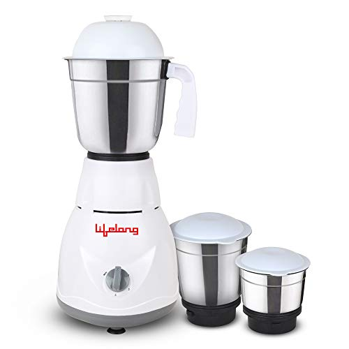 Lifelong Power Pro 500-Watt Mixer Grinder with 3 Jars (White/Grey)