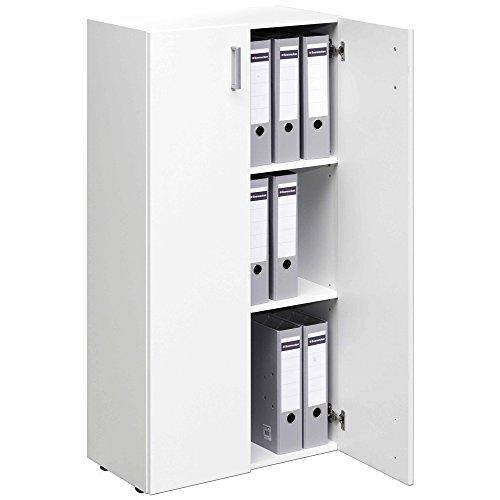 TRIO Standregal Bücherregal Bücherschrank Regal Mehrzweckschrank Schrank mit 2 Türen - 115,5cm - weiß