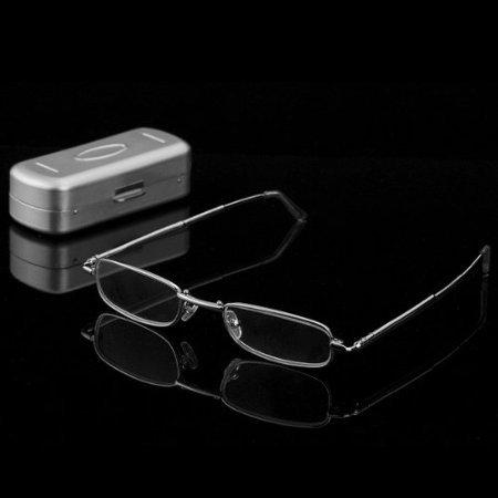 Foto de THG pr¨¢ctico Acero Inoxidable Full Frame de viaje de bolsillo Gafas delgados plegables plegables gafas de lectura 1.50 Caso duro Care Gafas Reader Ojo