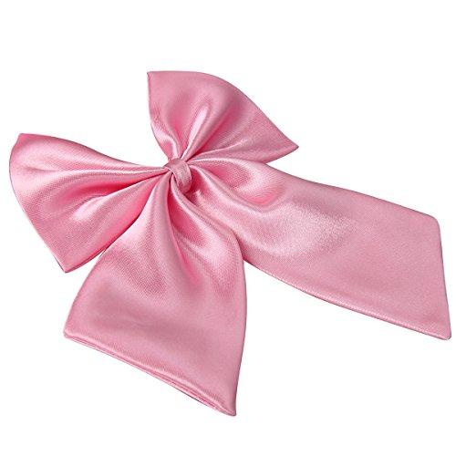 Rosa Binder 2 (JewelryWe Damen Fliege Schleife Krawatte Binder Schlips Schmettling Bow Tie Anzug Hemd Verstellbar für Silvester Business, Pink)