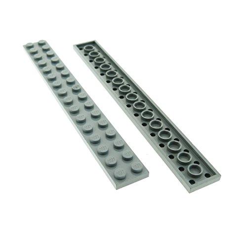 2 x Lego System Leiste Basic Bau Platte Stein neu-hell grau 2...