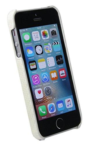 Emartbuy® Stylet Pack Pour Apple iPhone SE Protège-Écran + Mini Noir Stylet + Clipsable Mince Étui Coque Case Cover Faux Suède Print Carbone Blanc Clipsable Cover