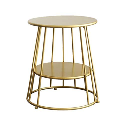 Home Warehouse Gold Kleiner runder Tisch, Nordic Style Wohnzimmer Dekoration Sofa Tisch Konsole Tisch Kleine Wohnung Tisch Ecke Tisch Tabelle Iron Art Leisure Lestisch,55 * 53CM -