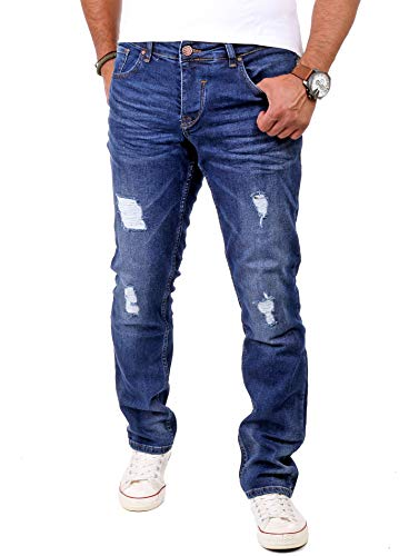Reslad Jeans Herren Destroyed Look Slim Fit Denim Strech Jeans-Hose RS-2062 (W30 / L32, Blau) -