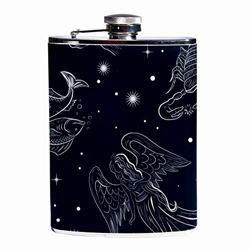 Rundafuwu Schnapsflasche, Leak Proof Liquor Hip Flask 7 oz Flagon Mug with Fairy Tale Zodiac Print Pocket Container for Discrete Shot Drinking of Whiskey Alcohol Liquor -