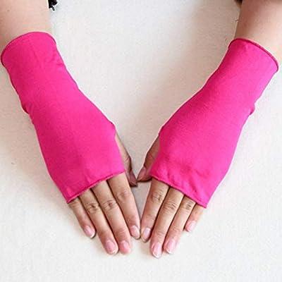 LIOOBO 4 Paar UV-Schutzhandschuhe Handgelenklänge Sonnenschutzhandschuhe Fingerlose Handschuhe (gelegentliche Farbe)