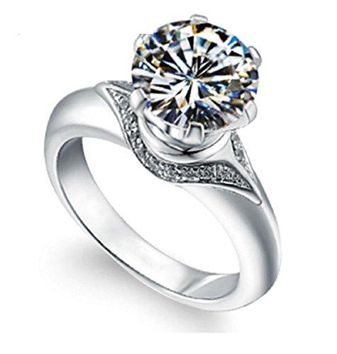 Gowe Romantische moissanites Hochzeit Ringe für Frauen 2Karat Runde Lab gewachsen Diamant Solid (Diamant-moissanite Ring)