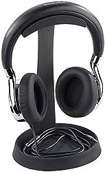 auvisio Kopfhörerhalter: Massiver universeller Metall-Kopfhörer-Ständer, Kabelablage, schwarz (Headset Ständer)