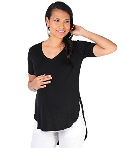 KRISP Damen Umstandsmode High Low T-Shirt Jersey Top_(7491-BLK-S)