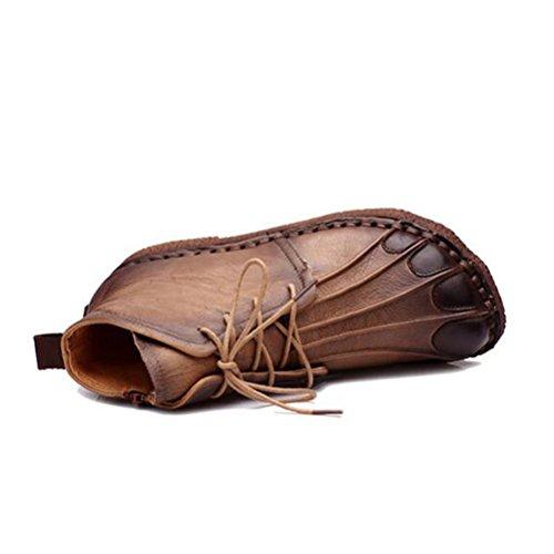 Vogstyle Femmes Main en Cuir Véritable Mère Chaussures Style-1 Marron