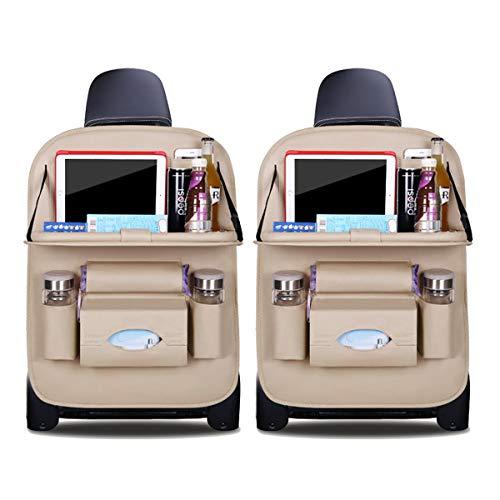 Ergocar Auto Organizer Rückenlehnenschutz Luxus Autositzschutz aus PU-Leder mit faltbarem Tablethalter wasserdicht Rückenlehnenschutz Rückenlehnen-Tasche für Kinder (Beige - 2 Pack) -
