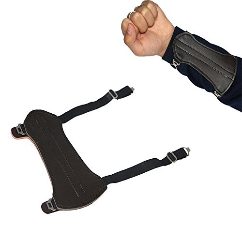 toparchery-archery-arm-guard-2-straps-protector-gear-cow-leather-for-shooting-hunting