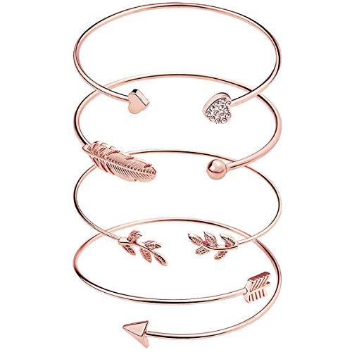 suyi 4 Stück Verstellbare Manschette Armband offenen Draht Armreif stapelbar Wrap Armband Set für Frauen Mädchen R-Gold