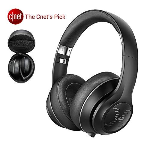 Casque Audio Bluetooth Tribit XFree Tune -Casque sans Fil 40 Heures de Lecture, Son stéréo Haute fidélité avec Basse puissante, Micro intégré, Cache-Oreilles Souples, Noir/Rouge