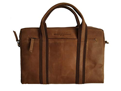 The Leather Warehouse 13-13.3 inch Genuine Leather Laptop Bag | Messenger Bag - Zippered Laptop Sleeve for Men and Women with Leather Nylon Handle | Strap | Pockets | Multiple Compartments - Brown