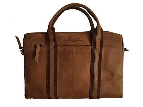 THE LEATHER WAREHOUSE Laptoptasche MacBook Hülle für 13 Zoll aus Leder Notebooktasche Schutzhülle mit Reißverschluss DIN A4 Braun Vintage Retro 13