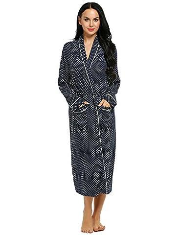 Ekouaer Kimono Tissage Gaufré Femme Homme Coton Waffle Peignoir de Bain L S Bleu Marine