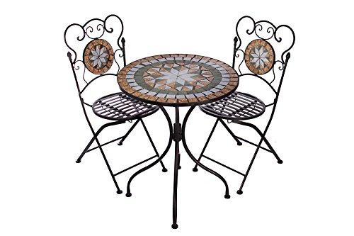 Hochwertiges aufwendig gearbeitetes Mosaik Tisch Set, NA914-B017 stabiles Gartenmöbel Set, Balkonset, Bistroset, Schweres beschichtetes Metall, Wetterfest, Tisch und 2 Stühle