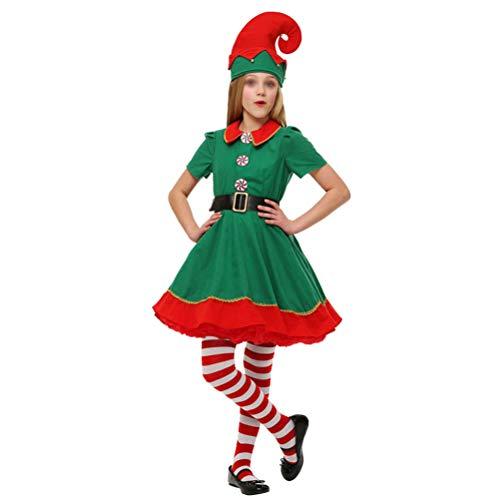 (BESTOYARD Weihnachtskostüm Set Mädchen Festliche Elf Outfit Urlaub Santa Elf Kostüm Fancy Dress up Xmas Kleidung Anzug - 150 cm (Grün))