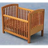 Dolls House Miniature 1:12th Scale Large Pine Cot With Mattress