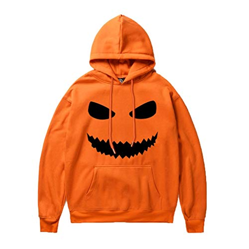 Cartoon Treat Or Trick Kostüm - Unisex Happy Halloween Trick or Treat Kostüm Hoodie Grusel Herren Halloween Kostüm Rundhals Hoodies Kürbiskopf Couple's Damen Halloween Shirt Kürbis Fun Sweatshirt
