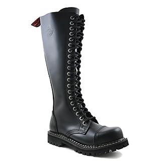 ANGRY ITCH - 20-Loch Gothic Punk Army Ranger Leder Schwarz Armee Stiefel mit RV & Stahlkappe - Größen 36-48 - Made in EU!, EU-Größe:EU-39