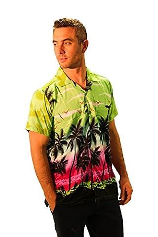 MENS HAWAIIAN SHIRT SHORT SLEEVE STAG BEACH HOLIDAY PALM TREE FANCY DRESS HAWAII - ALL SIZES (XXL, Green)