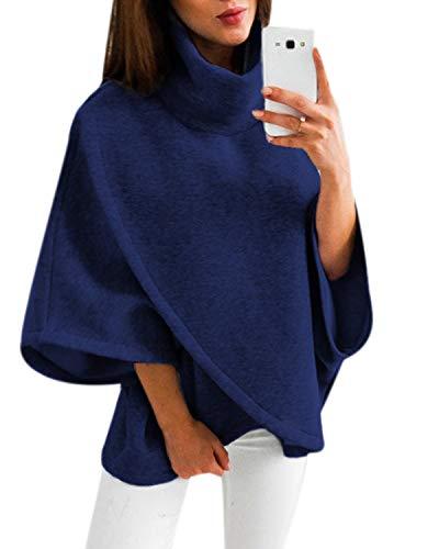 YOINS Damen Pullover Oberteil Poncho Winter Warm Asymmetrische für Damen Pulli Cardigan Sweatshirt Rollkragenpullover Langarm Dunkelblau S