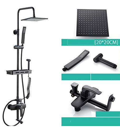 SXMXN Wand Halterung Messing Bad Dusche Set Schwarz Regen Dusche Kopf & Handheld Messing Halter Dusche Umsteller Kit,Black (Kopf Handheld Messing Dusche)