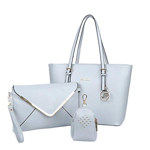 X&L Frauen's Mode Trends Zahnstocher-set Muster drei Single Diagonale Schulter Handtasche White