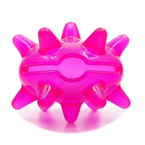 SuperDesign TPR Großmaul Monster Futterspender Interaktives Spielzeug für Hunde und Katzen Transparent Leuchtend Pink