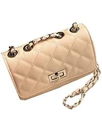 Aimerfeel style design faux matelassée à bandoulière en cuir sac à main avec longue chaîne, noir ou beige