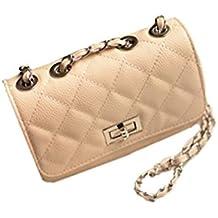Aimerfeel falso acolchado de hombro bolso de cuero del estilo del diseñador con cadena larga, negro, blanco o beige