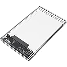ORICO - Carcasa Disco Duro Externo 2.5 Pulgadas SATA 3.0 a USB 3.0 - Transparente para HDD / SSD de 7mm y 9.5mm (Sopporta UASP) - Libre de Herramienta - LED Indicador