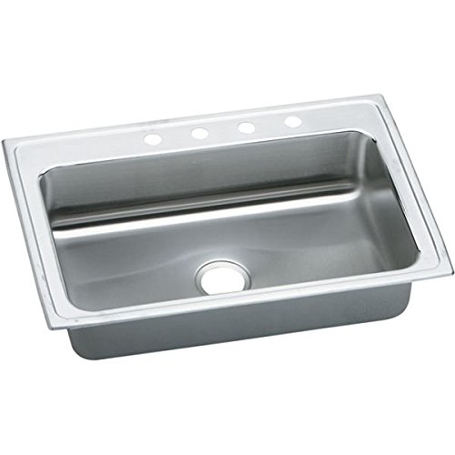 Elkay LRS33224 Gourmet Lustertone 4-Hole 33-Inch x 22-Inch Single Basin Top-Mount Stainless Steel Kitchen Sink by Elkay (Küchenspüle 33 Zoll)