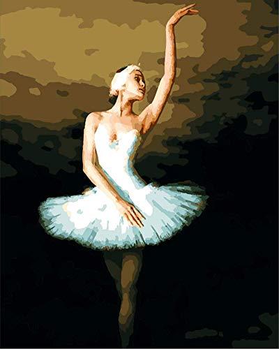 WOWDECOR DIY Malen nach Zahlen für Erwachsene Kinder Mädchen, Ballett Mädchen Schön Schwanensee 40x50cm Vorgedruckt Leinwand-Ölgemälde (ohne Rahmen)