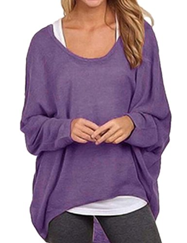 Shinekoo® Damen Langarm Oversize Shirt Lose Asymmetrisch Jumper Tops Casual Bluse Lila