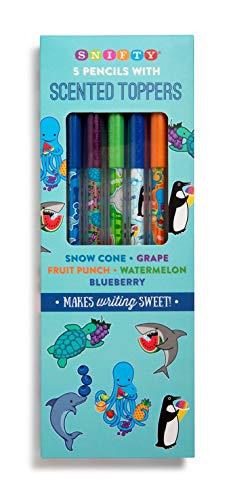 Bleistiftaufsatz mit Aquarium-Stiften (5 Stück), Blaubeere, Obststststanzer, Traube, Schneekegel,...