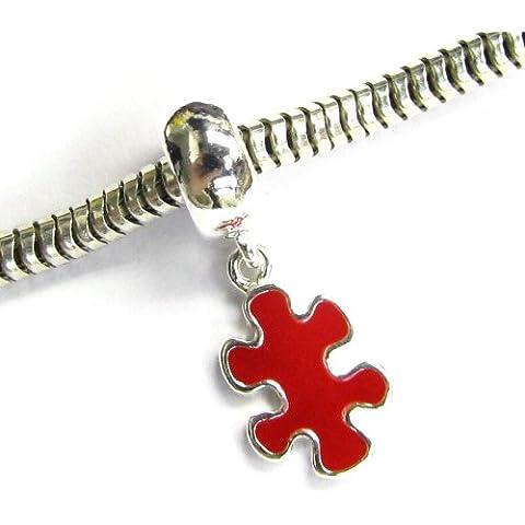Argento Sterling 925autismo consapevolezza Puzzle Game piece smalto rosso per braccialetti Charm per braccialetti