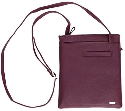 Felda - borsa a tracolla da donna - vera pelle - con sacchetto antipolvere - color carne viola