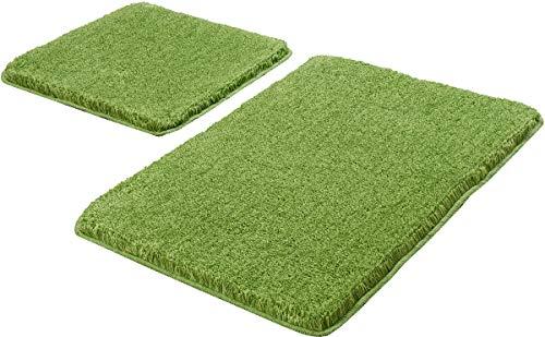 Kleine Wolke Badteppich Relax, Kiwigrün Set 2-teilig, Jubiläums-Angebot 2-teilig (50 x 50 cm und 55 x 85 cm) grün