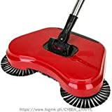 PERFECT SHOPO New Stainless Steel Sweeping Machine Push Type Hand Push Magic Broom Dustpan Handle Household Cleaning Package Hand Push Sweeper / Foldable 360 Degree Rotating Brush Sweeping Broom Room Floor Sweeper Cleaner Dust Mop Set