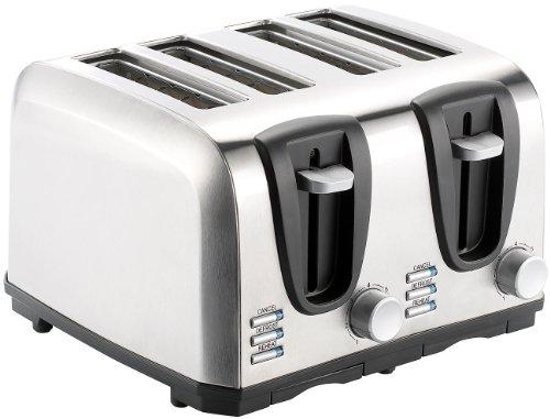 Rosenstein & Söhne Automatik-Toaster: Edelstahl-Toaster für 4 Scheiben, 1300 W (Schlitz-Toaster)