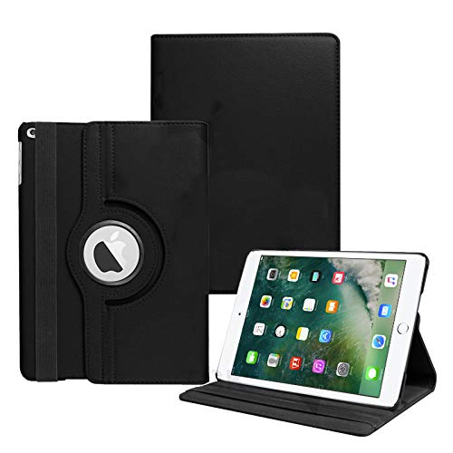 Tgk 360 Degree Rotating Leather Smart Case Cover Stand (Auto Sleep/Wake Function) For Apple Ipad Air 5 (A1474, A1475, A1476) - Black