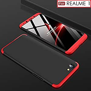 WOW Imagine 3 in 1 Double Dip Case [ Anti Slip ] Super Slim [Hard] Hybrid PC All Angle Protection Lightweight Matte Hard Back Case Cover For OPPO REAL ME REALME 1 - Black with Red